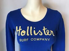 Hollister Women's Long Sleeve Blue Embroidered Spell Out Shirt Size Small