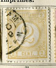 NETHERLANDS;   1876 early classic Numeral issue fine used 2c. value