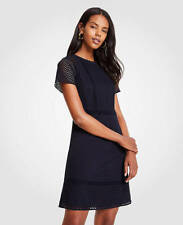 Ann Taylor - Size 10 Night Sky Blue Mixed Eyelet Shift Dress $159 (U96)