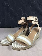 Coach Helen Size 9 Bleek Cab Stripe Leather Ankle Strap Wedge Sandal Khaki White