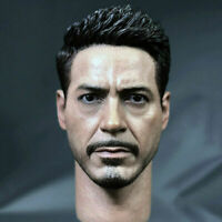 "1/6 Scale Tony Stark Head Sculpt Carving Model Fit 12"" Action Figure Body"