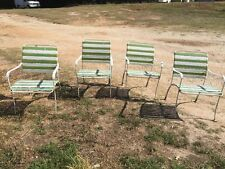 4 Vintage Mid Century Vinyl Strap Outdoor Patio Porch Dining Side Chairs Set