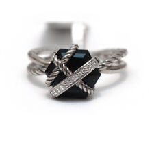 New DAVID YURMAN Cable Wrap Silver Ring in Black Onyx and Diamonds Size 8.5