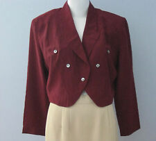 EVAN PICONE Petites Size 10 Deep Red 100% Silk Long Sleeve Collared Blouse