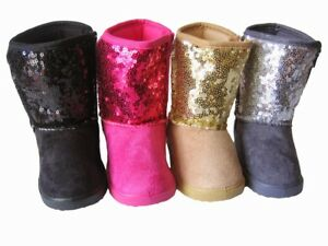 New Baby Toddler Pink Silver Gold Girls Sequins Dressing Boots Shoes Size 2 3