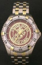 LADIES MEDALLION DIAL US MARINE CORPS WATCH - STEEL/GOLD WITH USMC EMBLEM