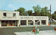 postcard OHIO Gas Station U-DRIVE-IT Auto Glass Store Canton, OH