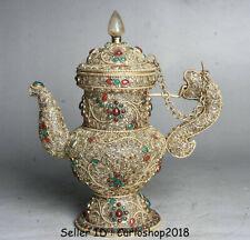 "8.4"" Antique Tibet Buddhism Crystal Silver Wire Inlay Gem Dragon Handle Wine Pot"