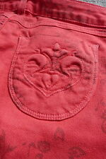 EXCELLENT  SIWY  HANNAH  RED PATTERNED COTTON SKINNY JEANS  Size 24  UK4