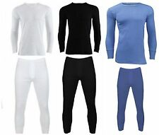 MENS SET OF LONG SLEEVED THERMAL VEST AND JOHNS. IN BLACK, BLUE AND WHITE.