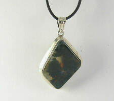Moss Agate Pendant Necklace .925 Sterling Silver Stone Jewelry Green Jasper