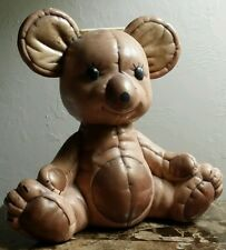 VINTAGE CERAMIC TEDDY BEAR COIN SLOT BANK  HAND PAINTED.