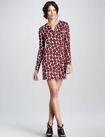 Diane Von Furstenberg Sz 8 Bold Stone Leopard Print Reina Silk Shift Dress DVF