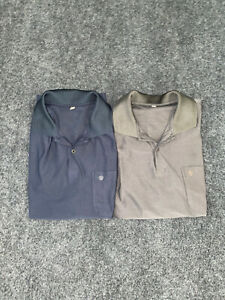 Unbranded Gray And Blue Polo Golf Shirts With Apple On Pocket 2 Shirts Size XL