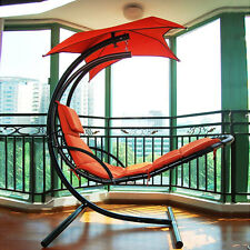 New Hanging Steel Chaise Lounger Chair Arc Stand Swing Hammock Canopy Orange