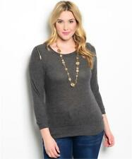 NEW..Stylish Plus Size Charcoal Long Sleeve Top with Shoulder Zippers.Sz16/2XL