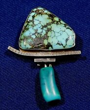ARTISAN Signed STERLING Textured 2 TURQUOISE HANDMADE Vintage PIN