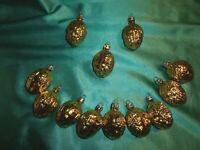 ~ 12 alte Christbaumkugeln Glas Nüsse gold Christbaumschmuck Vintage Tannembaum