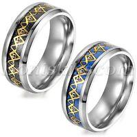 Men Retro Fashion Masonic Freemason Polished Stainless Steel Ring Band Size 6-12
