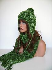 NEW GREEN MULTI COLOR CROCHET EARFLAP HAT AND SCARF SET PERUVIAN STYLE HAT