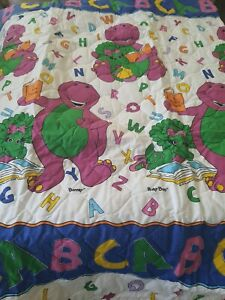 VTG 90s Purple Barney The Dinosaur Toddler Quilted Blanket Baby Dreams NEW HTF