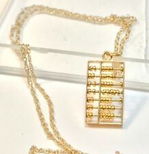 """Movable Abacus Solid 14k Yellow Gold Pendant 16"""" 14k Chain Necklace 1.7g"""