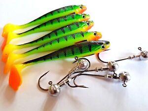 Drop shot lures 7 cm long, duck fin with jig heads - perch, pike, zander fishing
