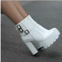 Womens Punk Chunky Heel Platform Zipper Buckle Goth Ankle Boots Shoes Plus Size