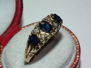 Superb Solid 750 18ct Gold Natural Sapphire & Diamond Ring, Beautiful Example!