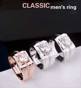 Men's Jewelry 1 Karat Solitaire Engagement Ring AAA CZ Adjustable 3 Colors Hot