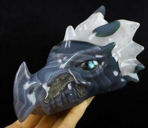 "5.7"" GRAY & WHITE AGATE Carved Crystal Dragon Skull & Labradorite Eyes"