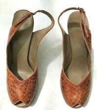 VTG 50s Alligator Crocodile Peep Toe Sling Back High Heel Shoes Brown sz 9