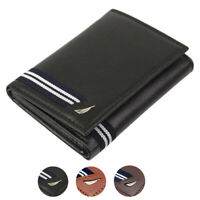 Nautica Men's Genuine Leather Credit Card Id Holder Trifold Wallet