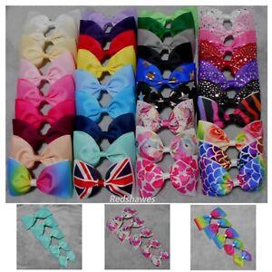 LARGE BOW Girls Hair clip 3, 4, 5, 6, 7 inch School Rainbow Union Jack Hearts UK
