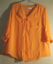 Calvin Klein 3X Blouse Orange Fabric Lined Long Cut CHIC CREPE CHIFFON & RUFFLES
