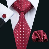 New Red Silk Tie White Polka Dot Jacquard Mens Necktie Set Jacquard Party Gift