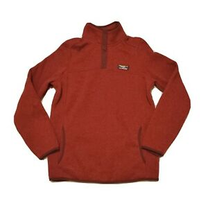 LL Bean Womens XS Reg Pullover Fleece #292726 Red Sweater Snap Misses  (C)