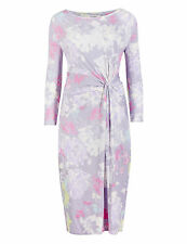 BNWT M&S LILAC PINK GREEN YELLOW WHITE SUMMER PARTY WIGGLE DRESS SIZE 18 LONG