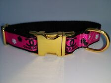 """Dog Collar 8"""" - 12"""" neck size.  FREE FABRIC DESIGN Gold Metal Buckle"""