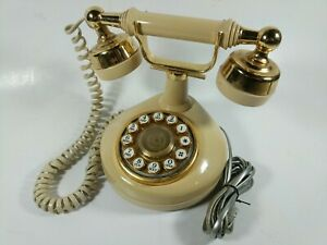Nostalgic 1960s BT jack plug lead Landline Telephone Proper Bell Red Base Redial Converts to Fast Tone Dialling 1970s Style Retro Rotary Dial Phone Ivory Handset * and # Handsfree Dialling