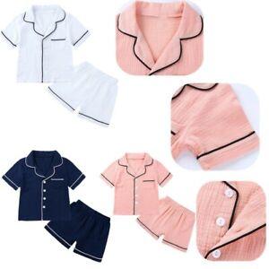 Girls Boys Cotton Sleepwear Pajamas Kids Nightwear Top Shorts Outfits Costumes