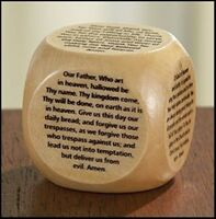My First Holy Communion Gift Wooden Prayer Cube with Our Father Prayer and More