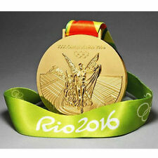 2016 New RIO DE Olympic Souvenir Gold Medal with Commemorative Ribbon Gift