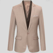Men Slim Fit One Button Formal Suit Blazer Long Sleeve Business Coat Jacket Tops