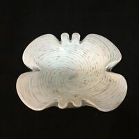 MCM Art Glass Butterfly Dish Ashtray Hand Blown White Aventurine Swirl 8 In