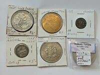 6 LOT FOREIGN COINS & TOKENS JAMAICAN 1966 5 SHILLINGS, 1928 SAN MARINO & MORE