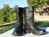 UGG Australia Size 7 Womens Black Studded Leather Buckle Mid Calf Boots