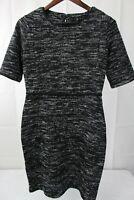 Banana Republic Stretch Polyester & Rayon Blend Black & White Shift Dress - 10