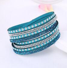 Fashion Leather Wrap Wristband Cuff Punk Crystal Rhinestone Bracelet Bangle #CA
