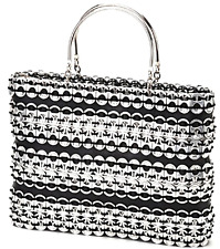 Handbag - Silver & Black - Recycled Soda Can Pop Top Tab Tire Rubber Evening Bag